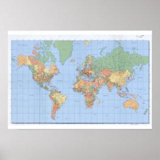 Standard världskarta, utskrivaven kartaaffisch poster
