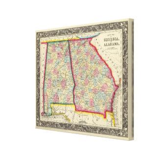 Ståndsmässig karta av Georgia och Alabama Canvastryck