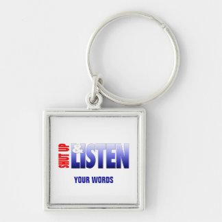 Stäng sig upp & lyssna fyrkantig silverfärgad nyckelring