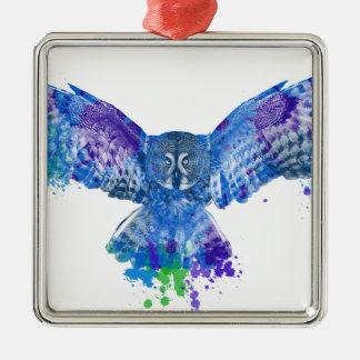 Stänk för blåttugglafärg julgransprydnad metall