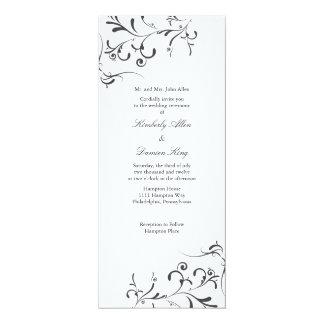 Stänk  wb för blommigt för bröllopinbjudan   10,2 x 23,5 cm inbjudningskort