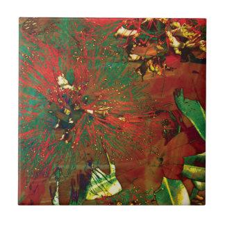 """""""Stänksamlings"""" - Pohutukawa blomma Kakelplatta"""