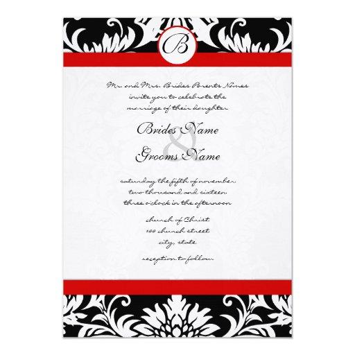 Stansad damastast röd välskött bröllopinbjudan 12,7 x 17,8 cm inbjudningskort