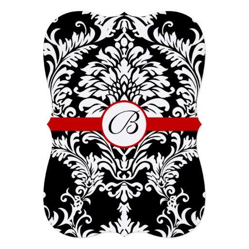 Stansad damastast röd välskött bröllopinbjudan tillkännagivande