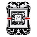 Stansad svart damastast röd välskött bröllopinbjud skräddarsydda inbjudan