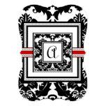 Stansad svart damastast röd välskött 12,7 x 17,8 cm inbjudningskort