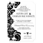 Stansat damastast bröllop för vintagesvart personliga tillkännagivanden