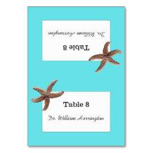 Starfish Beach Wedding Aqua Table Cards