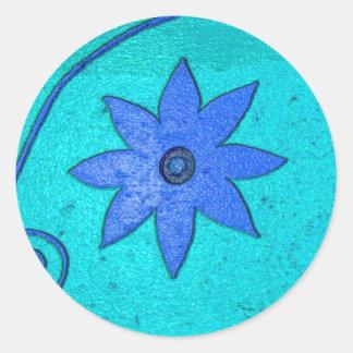 starflowerblått runt klistermärke