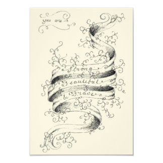 Starkt, härligt & modigt 8,9 x 12,7 cm inbjudningskort
