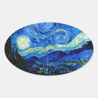 Starry natt av Van Gogh Ovalt Klistermärke