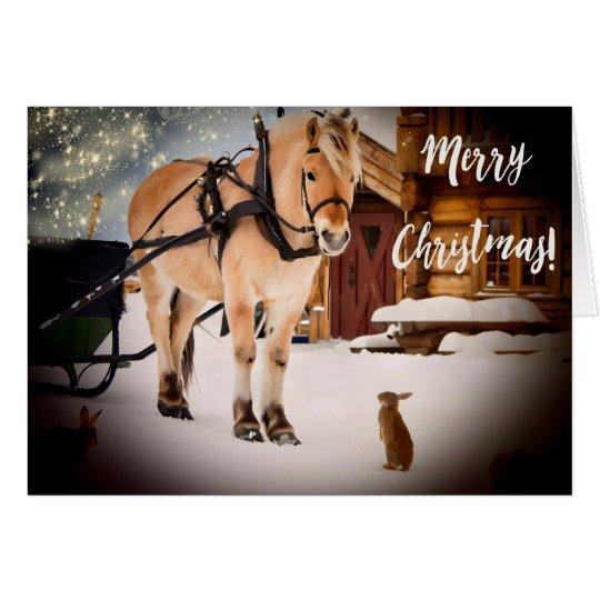 Starry natt för god jul på lantgården med hästen OBS kort