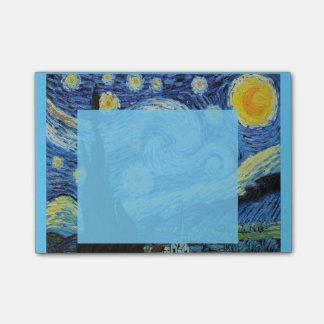Starry natt i blått Posta-honom Post-it Block