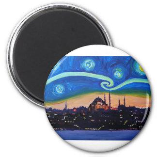 Starry natt i Istanbul Turkiet Magnet