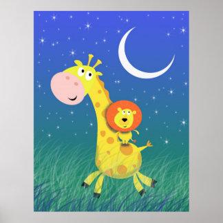 Starry natt på trycket för Savannahbarnkonst Affisch