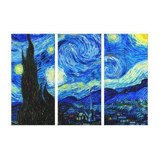 Starry natt vid Van Gogh den trefaldiga Canvastryck