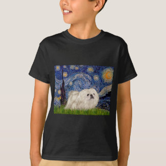 Starry natt - vit Pekingese 4 Tshirts