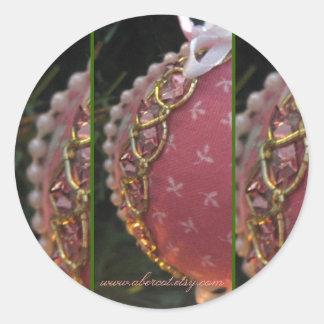 Starry rosabollklistermärkear runda klistermärken