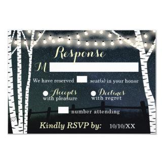 Starry stränga ljusa kort för björkträdbröllopet 8,9 x 12,7 cm inbjudningskort