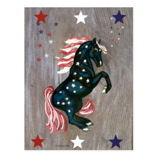 Stars och stripes som fostrar hingstvykortet vykort