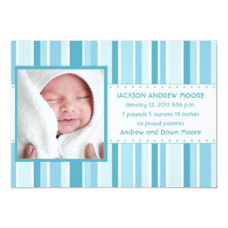 Stars och stripesfödelsemeddelande (blått) 12,7 x 17,8 cm inbjudningskort