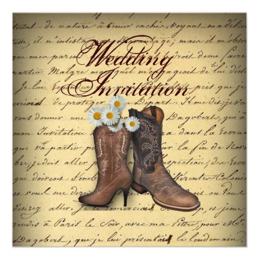 Startar den westerna cowboyen för vintage bröllopi unika inbjudningar