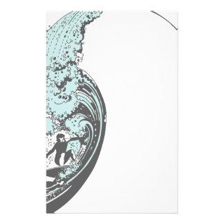 Stationära surfa övre blått brevpapper