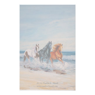 Stationärt hästar i surfan brevpapper