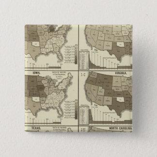 Statistisk United States lithographed kartor Standard Kanpp Fyrkantig 5.1 Cm
