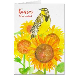Statlig fågel av den tomma Kansas Meadowlark Hälsningskort