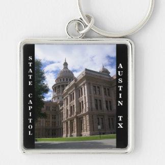 Statlig huvudstadbyggnad, Austin, Texas Fyrkantig Silverfärgad Nyckelring