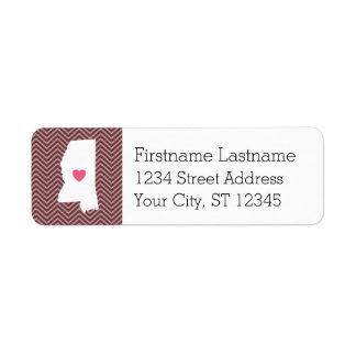 Statlig kärlek för Mississippi hem med Returadress Etikett