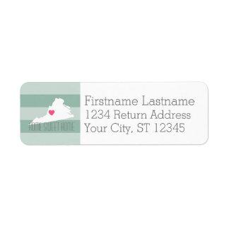 Statlig kärlek för Virginia kartahem med Returadress Etikett