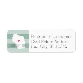 Statlig kärlek för Wisconsin kartahem med Returadress Etikett