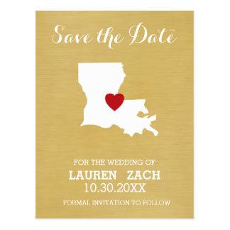 Statlig karta för Louisiana hem - bröllop spara Vykort