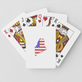 Statlig karta för Maine USA flaggasilhouette Casinokort