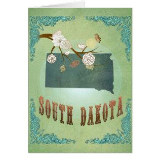 Statlig karta för South Dakota vintage - grönt Hälsningskort