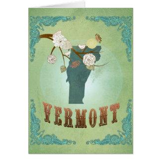 Statlig karta Vermont för modern vintage - grönt Hälsningskort