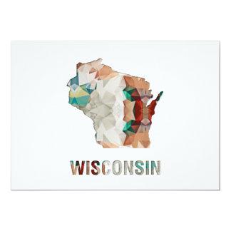 Statlig karta WISCONSIN för polygonmosaik 12,7 X 17,8 Cm Inbjudningskort