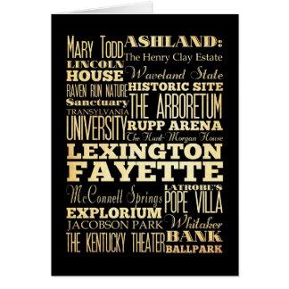 Statlig typografi för Lexington Fayette Kentucy Hälsningskort