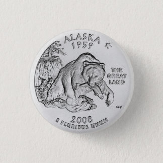 Statliga Alaska inkvarterar knäppas Mini Knapp Rund 3.2 Cm