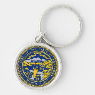Statliga Nebraska förseglar Rund Silverfärgad Nyckelring