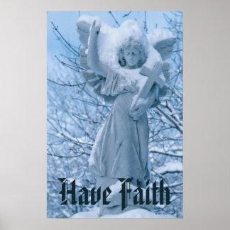 Staty av ängeln i det fria i vinter poster
