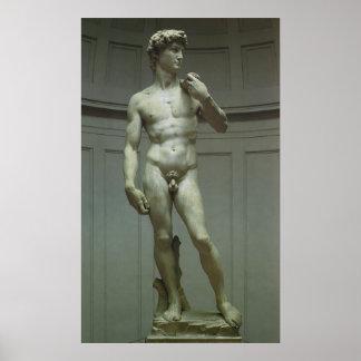 Staty av David av Michelangelo Poster