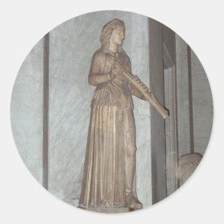 Staty i det Vatican museet i Rome, italien Runt Klistermärke
