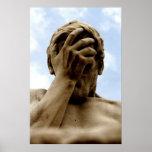 Statyhuvudet räcker in konsttryck på Sale Affisch