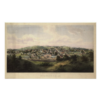 Staunton Virginia 1857 antika panorama- karta Poster