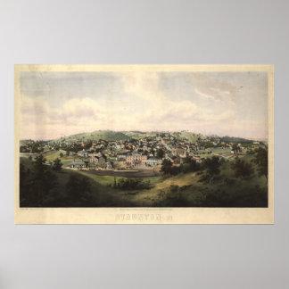 Staunton Virginia 1857 antika panorama- karta Poster