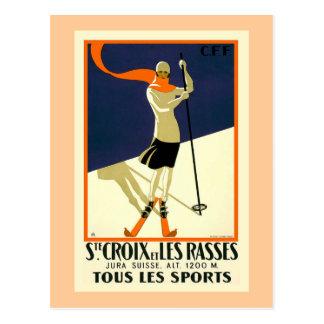 """Ste Croix et Les Rasses"" schweizisk vintage resor Vykort"
