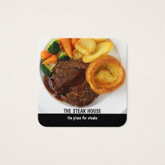 Steakrestaurangdesign Fyrkantigt Visitkort